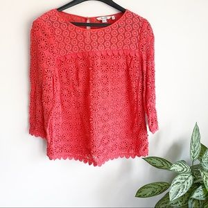 Boden Floral Lace 3/4 Sleeve Blouse Coral Size 10